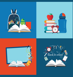 Back to school theme set with books vector