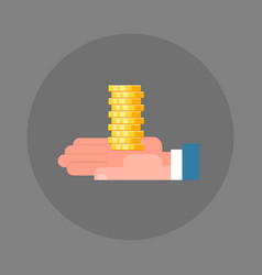 business man hand holding stack of coins icon vector image vector image