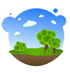 Cartoon landscape with trees vector