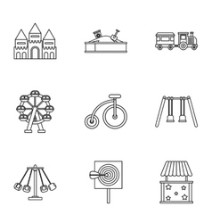 Children rides icons set outline style vector