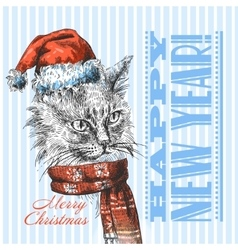 Christmas cat sketch vector
