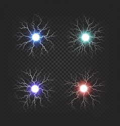 Colorful fireballs isolated set vector
