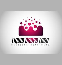 creative liquid drops logo design for brand vector image