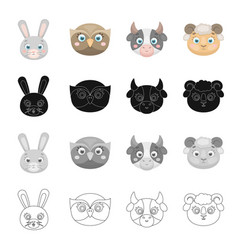 Different kinds of animals muzzle of a hare an vector