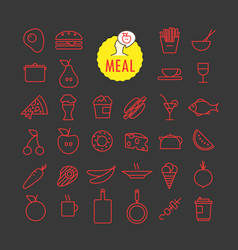 different meal icons collection web and mobile vector image vector image