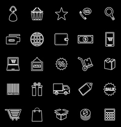 E commerce line icons on black background vector image vector image