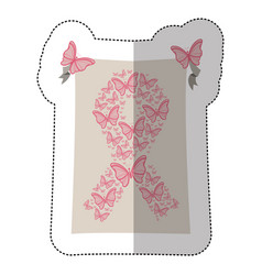 emblem breast cancer butterflys icon vector image vector image