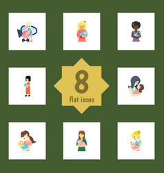 Flat icon mam set of mam parent child and other vector