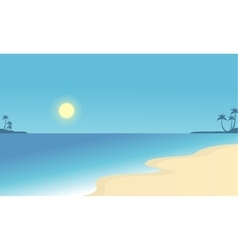 flat of beach scenry collection vector image