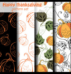 four different pumpkin patterns vector image vector image