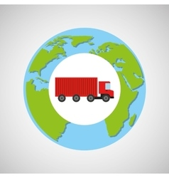 Globe world delivery truck container vector