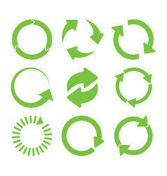 green round recycle icons set vector image