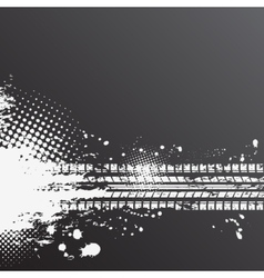 Grunge tire track background vector image