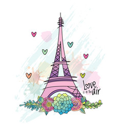 Hand drawn flower love card eiffel tower vector