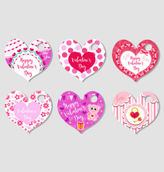 happy valentine s day tags set in the shape of a vector image