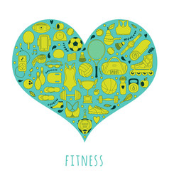 Healthy lifestyle background i love sport hand vector