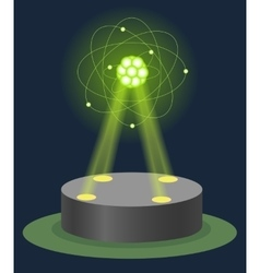 Innovation museum carbon atom structure hologram vector image