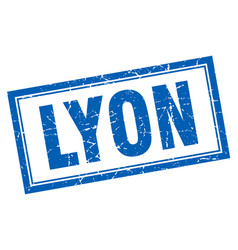 Lyon blue square grunge stamp on white vector