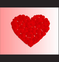 Many small hearts forming one big heart vector