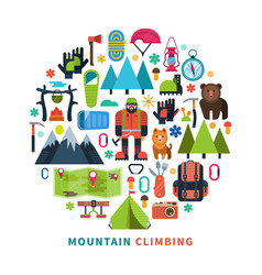Mountain tourism icons flat vector