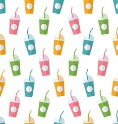 Seamless Pattern with Colorful Set of Milkshakes vector image vector image