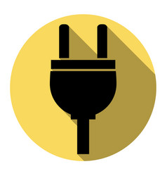 socket sign flat black icon vector image