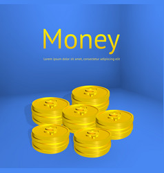 Stacks of gold coins business template for design vector