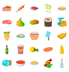 Supper icons set cartoon style vector
