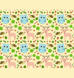 sweet seamless forest pattern design vector image vector image