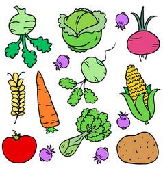 vegetable doodle set vector image vector image