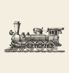 vintage locomotive hand-drawn retro train sketch vector image