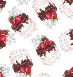 Watercolor seamless pattern with strawberry cake vector