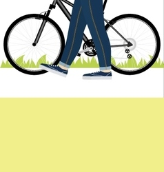 Young man with strong legs leads her bike on road vector