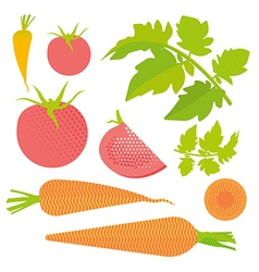 Fresh tomato and carrot set vector