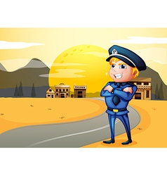 A police at the street in the middle of the night vector