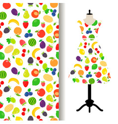 Women dress fabric with fruits pattern vector