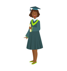young girl in student mantle holding diploma vector image