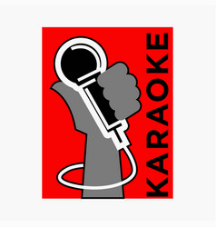 Karaoke club label of microphone in hand vector