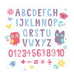 cute cartoon colorful alphabet for children vector image
