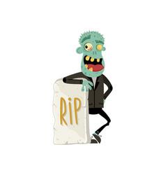 smiling zombie monster near rip gravestone vector image