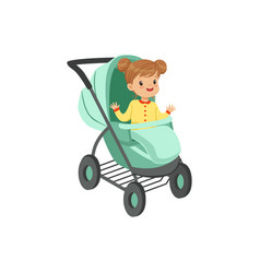 Adorable little girl sitting in an turquoise baby vector