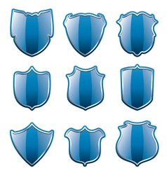Blue shields vector