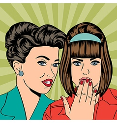 Two young girlfriends talking comic art vector