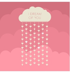 Paper heart from cloud on red vector