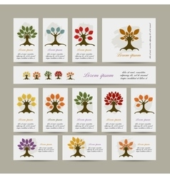 Set of cards with season trees for your design vector