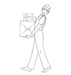 Boy in uniform carries cardboard boxes vector