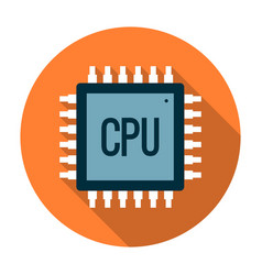 Processor icon flat vector