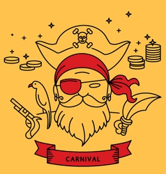 Pirate carnival costume outfit vector