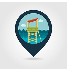 Lifeguard tower pin map icon summer vacation vector