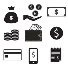 9 icon set dollar bag money on hand money coin vector image